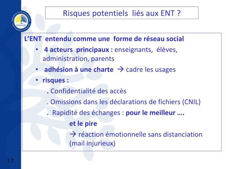 Risques potentiels  liés aux ENT ?
