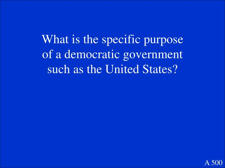 What is the specific purpose of a democratic government such as the United States?