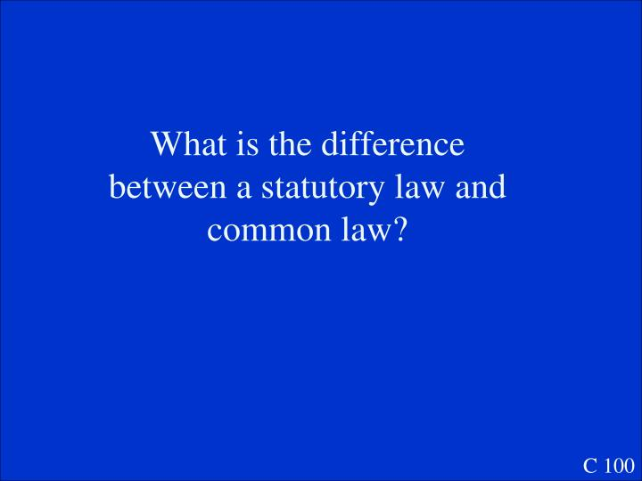 What is the difference between a statutory law and common law?