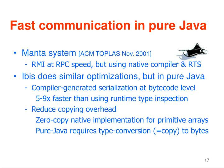 Fast communication in pure Java