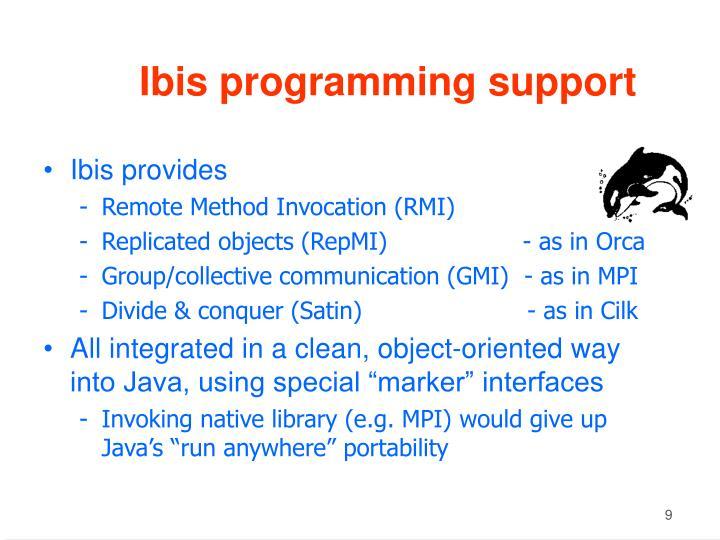 Ibis programming support