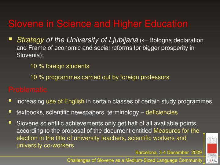 Slovene in Science and Higher Education
