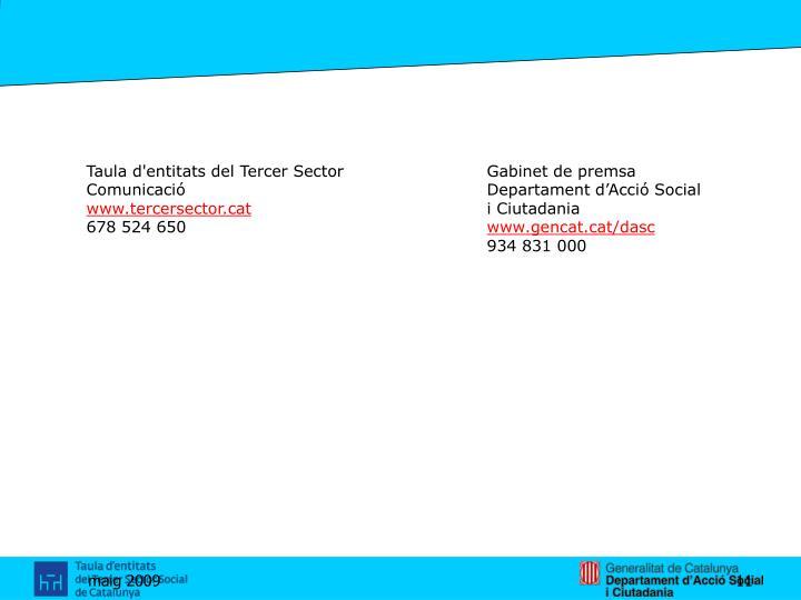 Taula d'entitats del Tercer SectorGabinet de premsa