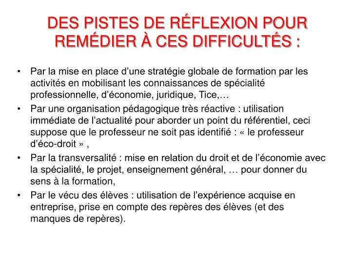 DES PISTES DE RÉFLEXION POUR REMÉDIER À CES DIFFICULTÉS: