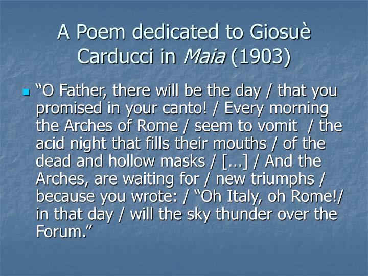 A Poem dedicated to Giosuè Carducci in