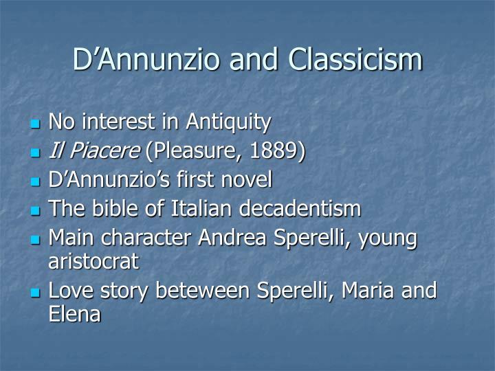D'Annunzio and Classicism