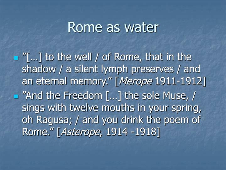Rome as water