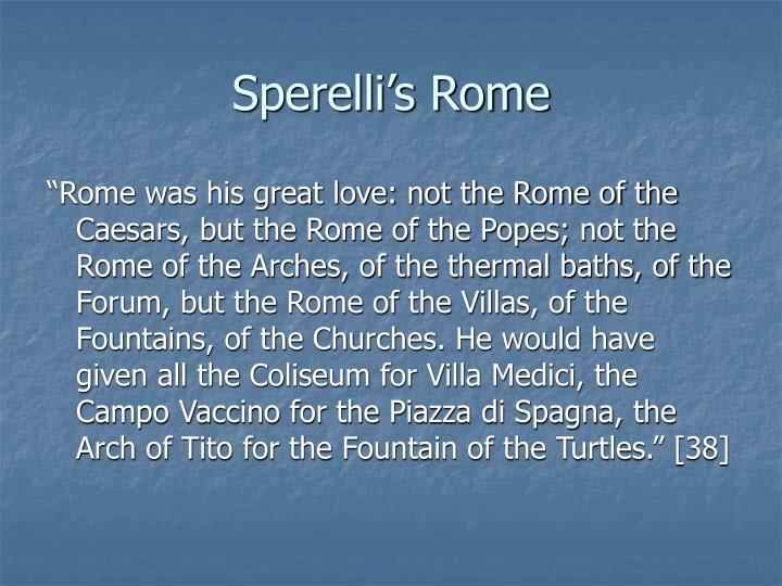 Sperelli's Rome