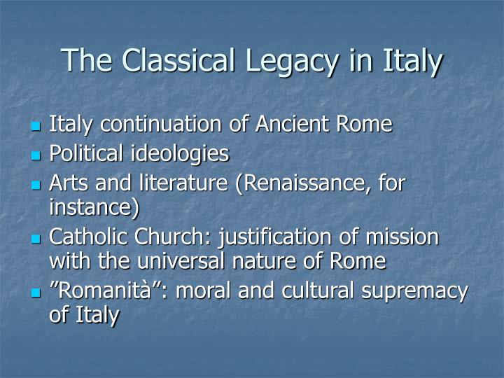 The Classical Legacy in Italy