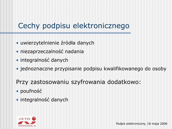 Cechy podpisu elektronicznego