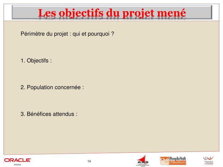 Les objectifs du projet mené