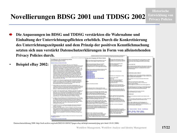 Novellierungen BDSG 2001 und TDDSG 2002