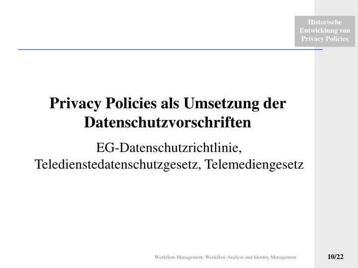 Privacy Policies als Umsetzung der Datenschutzvorschriften