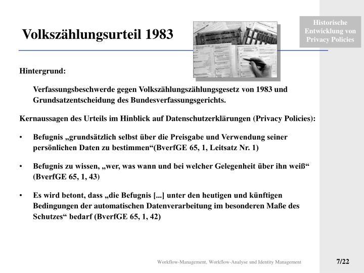 Volkszählungsurteil 1983