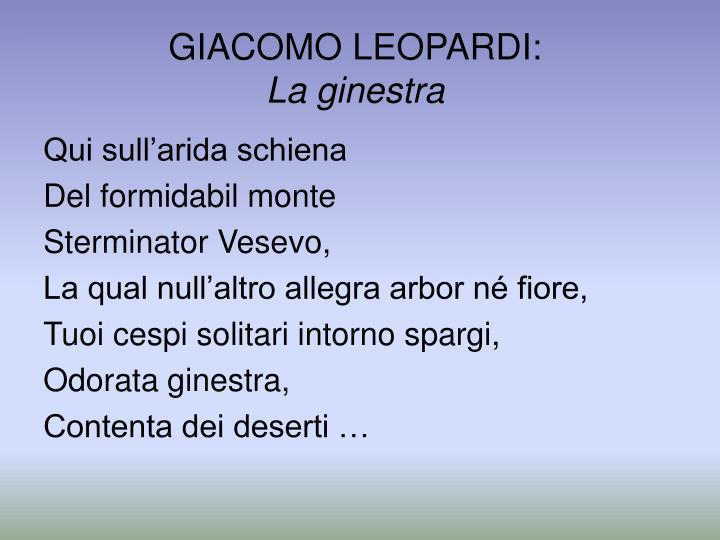 GIACOMO LEOPARDI: