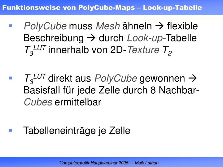 Funktionsweise von PolyCube-Maps – Look-up-Tabelle