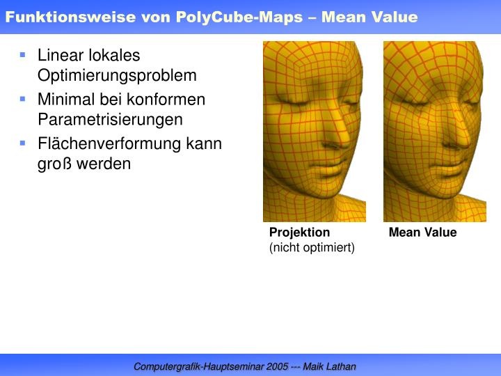 Funktionsweise von PolyCube-Maps – Mean Value