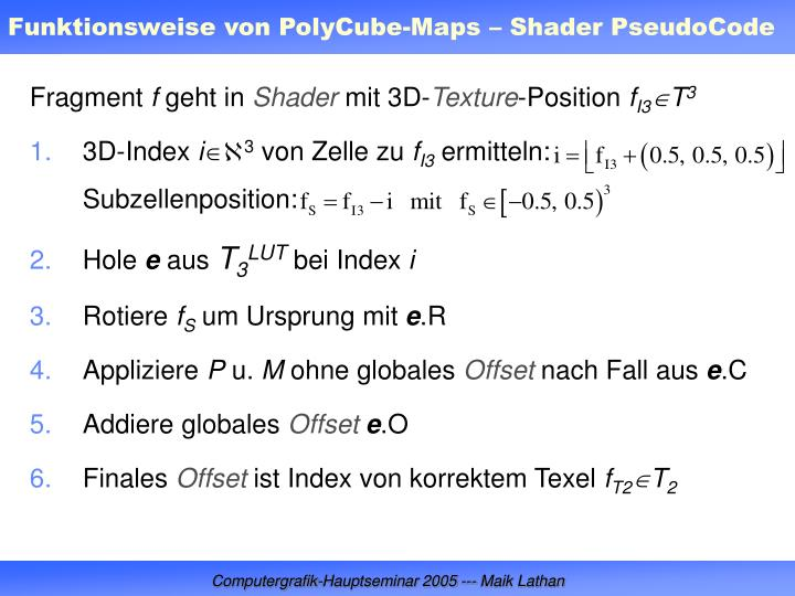 Funktionsweise von PolyCube-Maps – Shader PseudoCode