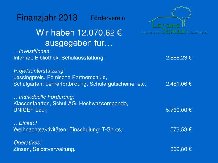 Finanzjahr 2013