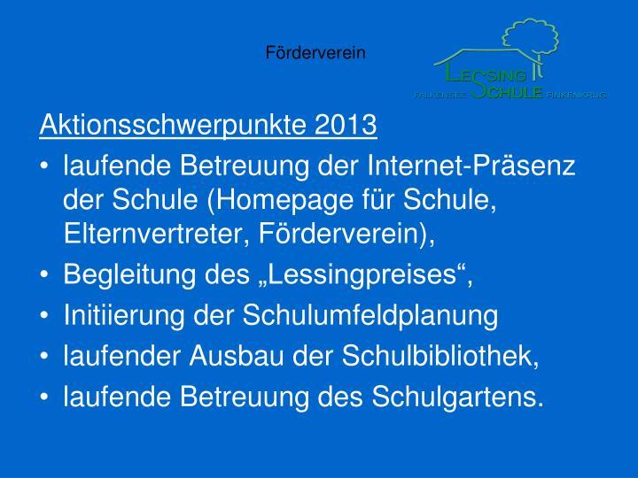 Aktionsschwerpunkte 2013