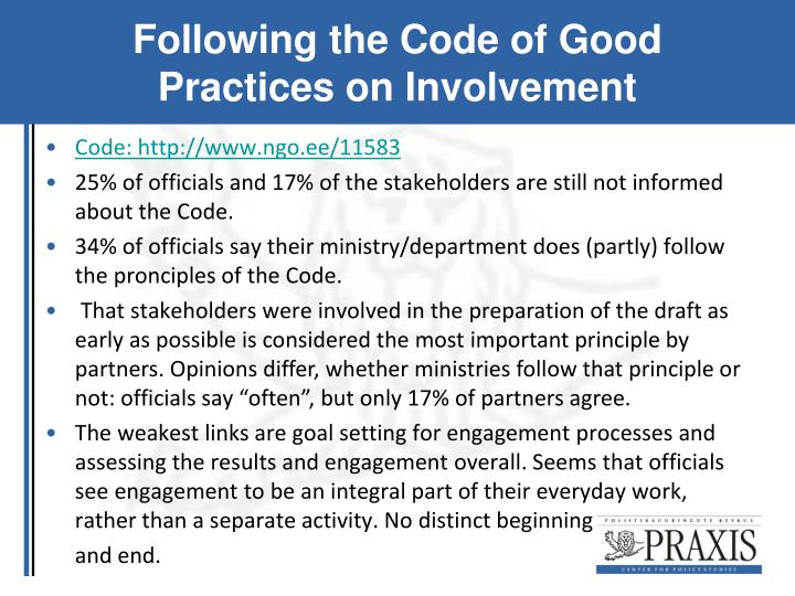 Following the Code of Good Practices on Involvement