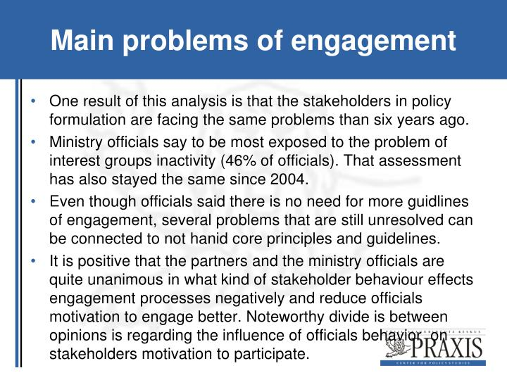 Main problems of engagement