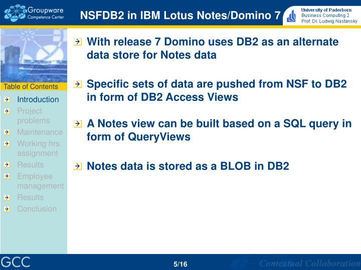 NSFDB2 in IBM Lotus Notes/Domino 7