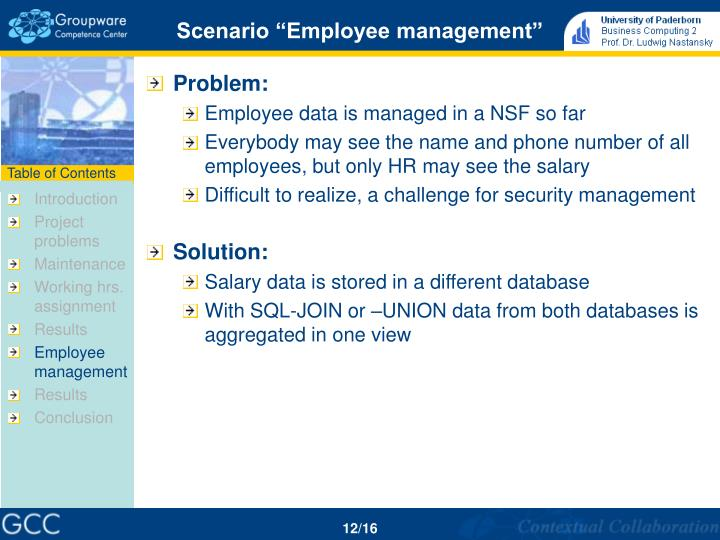 """Scenario """"Employee management"""""""