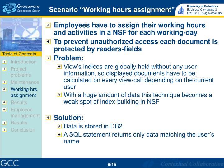 """Scenario """"Working hours assignment"""""""