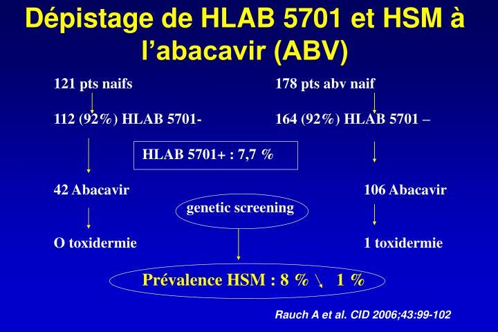 Dépistage de HLAB 5701 et HSM à l'abacavir (ABV)