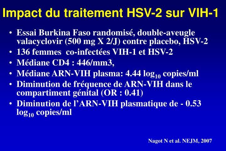 Impact du traitement HSV-2 sur VIH-1