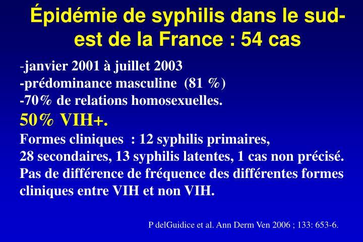 Épidémie de syphilis dans le sud-est de la France : 54cas