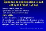 pid mie de syphilis dans le sud est de la france 54 cas
