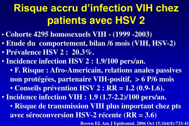 Risque accru d'infection VIH chez patients avec HSV 2