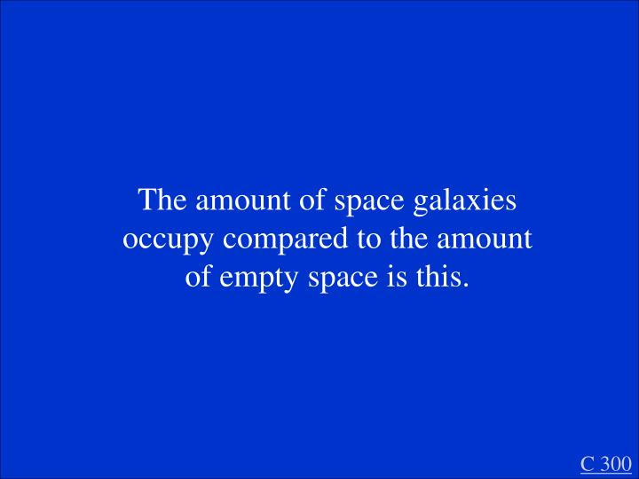 The amount of space galaxies occupy compared to the amount of empty space is this.