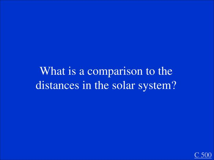 What is a comparison to the distances in the solar system?