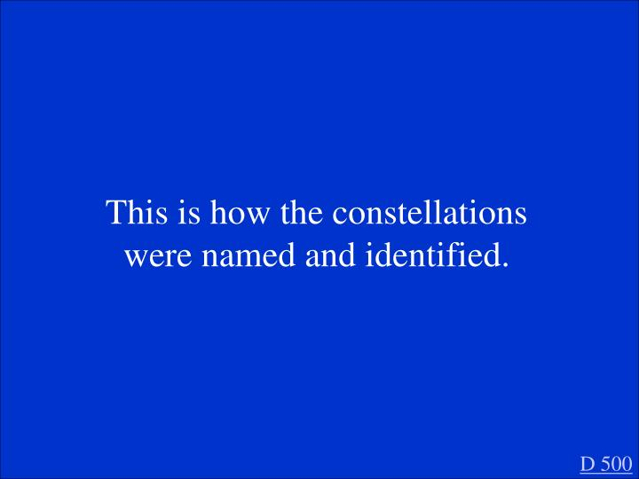 This is how the constellations were named and identified.