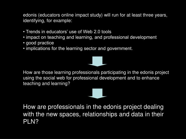 edonis (educators online impact study) will run for at least three years, identifying, for example: