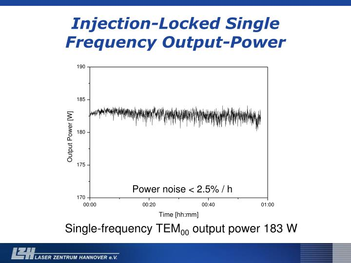 Injection-Locked Single Frequency Output-Power