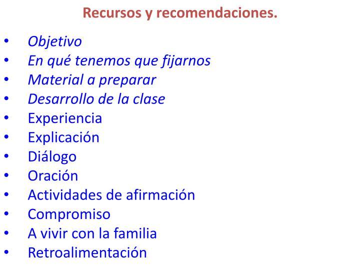 Recursos y recomendaciones.