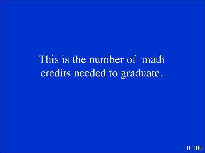 This is the number of  math credits needed to graduate.