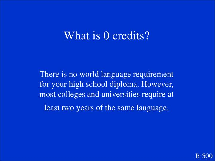 What is 0 credits?