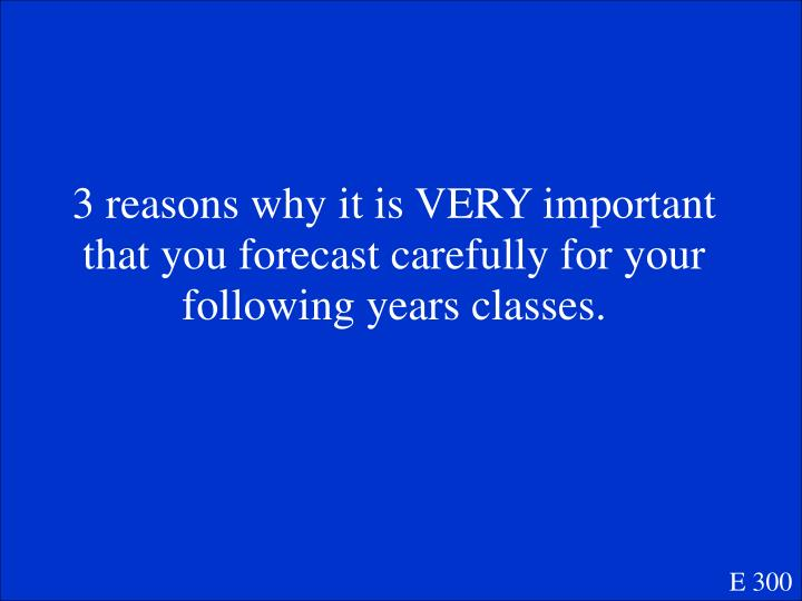 3 reasons why it is VERY important that you forecast carefully for your following years classes.