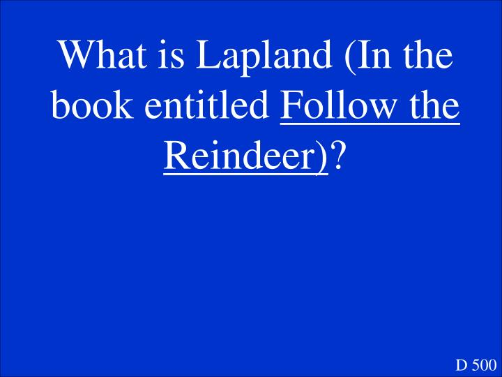 What is Lapland (In the book entitled