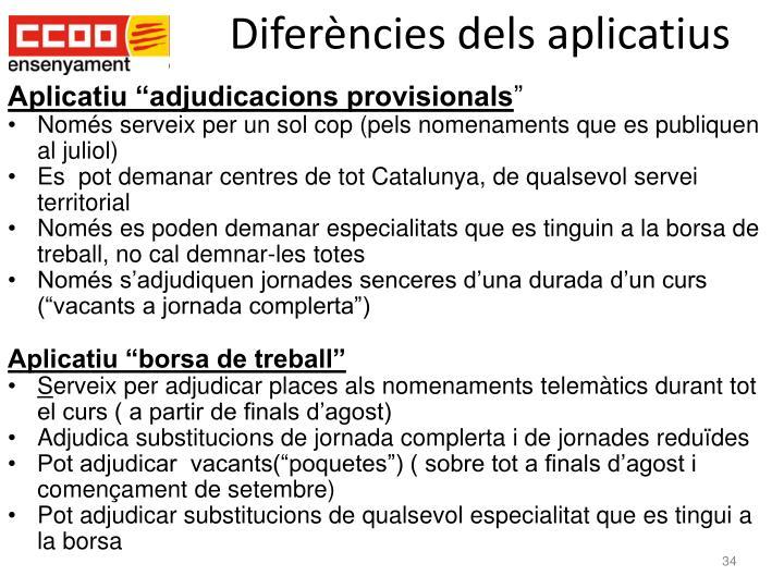 Diferències dels aplicatius