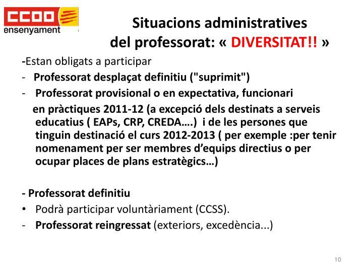 Situacions administratives