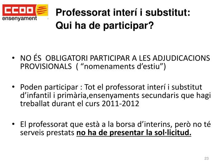 Professorat interí i substitut: