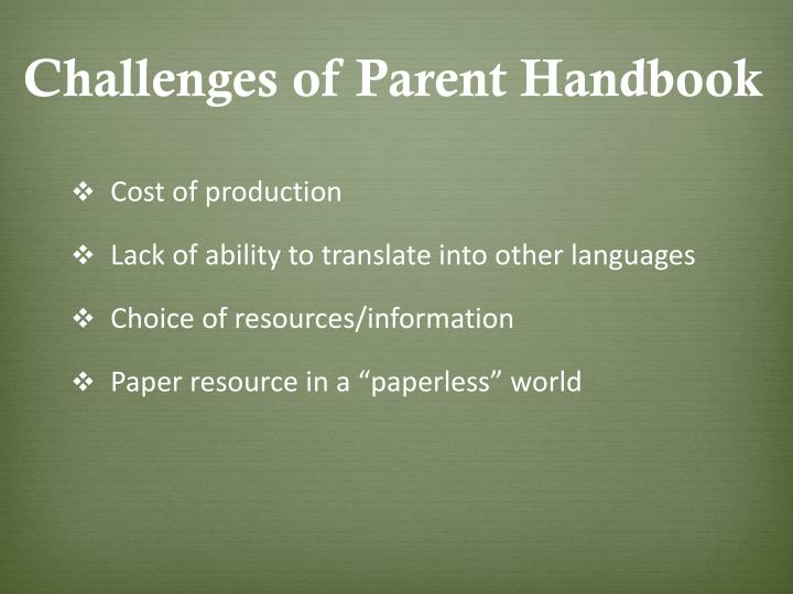 Challenges of Parent Handbook