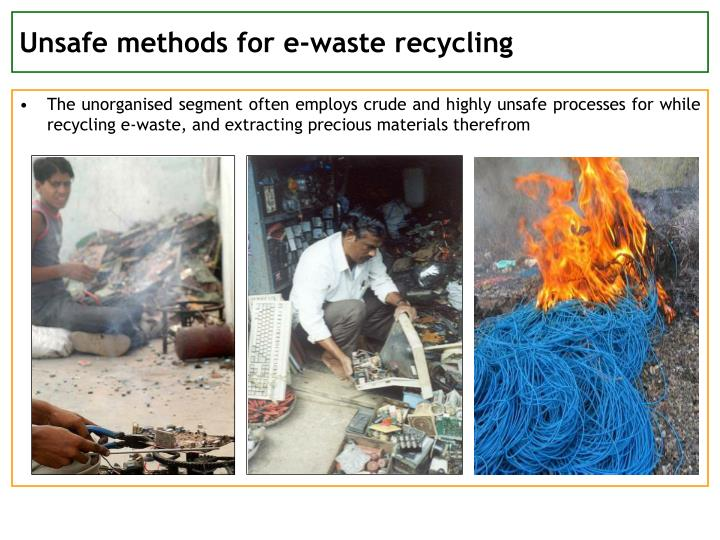 Unsafe methods for e-waste recycling