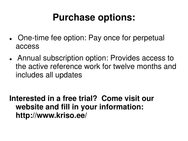 Purchase options: